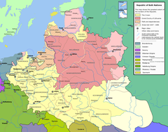 The Grand Duchy of Lithuania at the height of its power in the 15th century, superimposed on modern borders